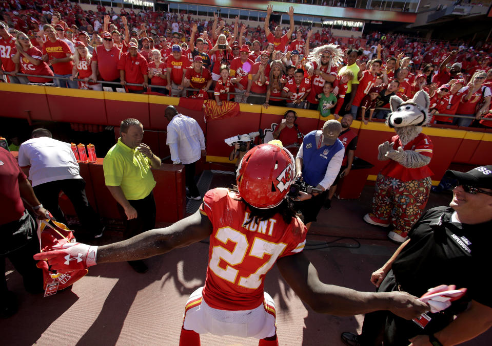 Kareem Hunt is done in Kansas City after video showed him striking a woman at a hotel in February. In 2017, Hunt, as a rookie, was the league's rushing champ. (AP)
