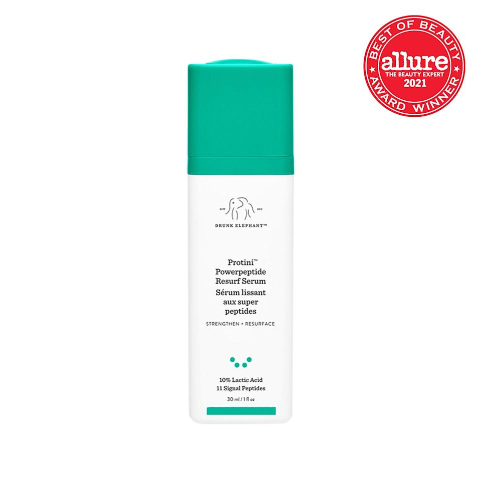 """The high percentage of <a href=""""https://www.allure.com/gallery/what-you-didnt-know-about-lactic-salicylic-citric-glycolic-acid-creams?mbid=synd_yahoo_rss"""" rel=""""nofollow noopener"""" target=""""_blank"""" data-ylk=""""slk:lactic acid"""" class=""""link rapid-noclick-resp"""">lactic acid</a> in <strong>Drunk Elephant Protini Power Peptide Resurf Serum</strong> dissolves dull surface cells, basically giving skin no choice but to reform its look and feel."""
