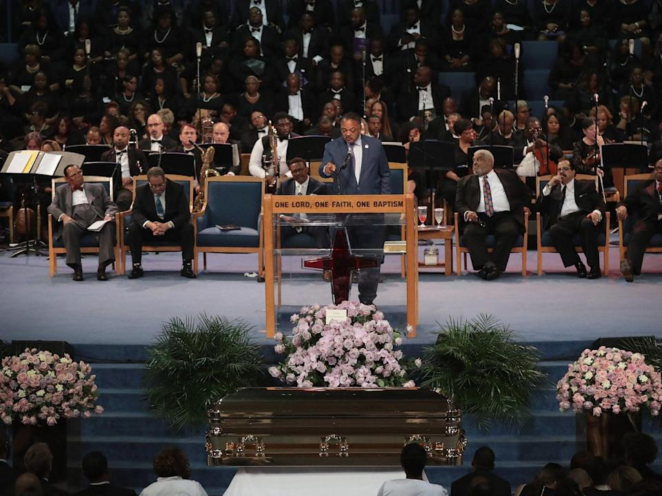 Jesse Jackson delivers an emotional speech yesterday (Getty)