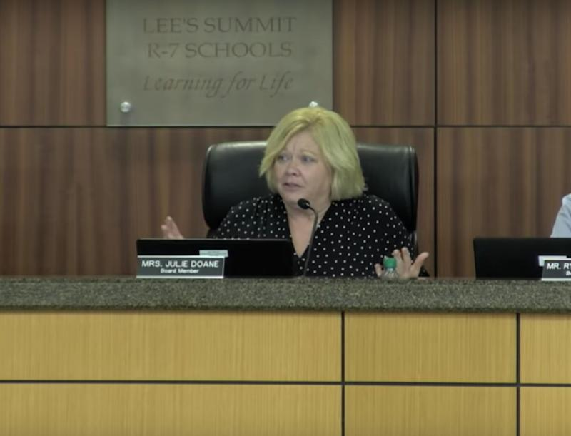Julie Doane, the school board president of Lee's Summit R-7 School District in Missouri, apologized for making controversial comments. (YouTube/Lee's Summit R-7 School District)