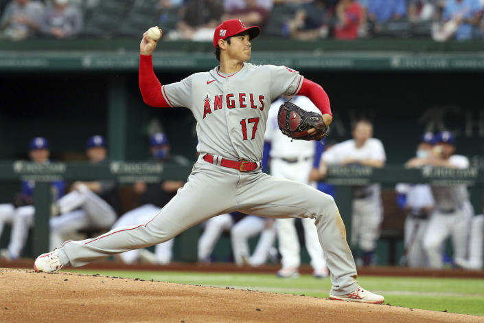 Los Angeles Angels starting pitcher Shohei Ohtani works the first inning against the Texas Rangers during a baseball game on Monday, April 26, 2021, in Arlington, Texas. (AP Photo/Richard W. Rodriguez)