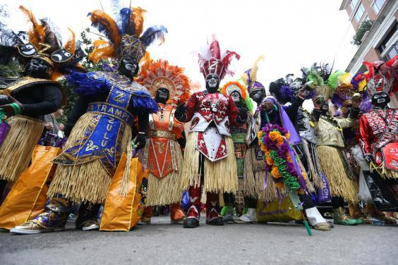 Members of the Zulu Social Aid & Please Club parade on 25 February in New Orleans. (Getty Images)