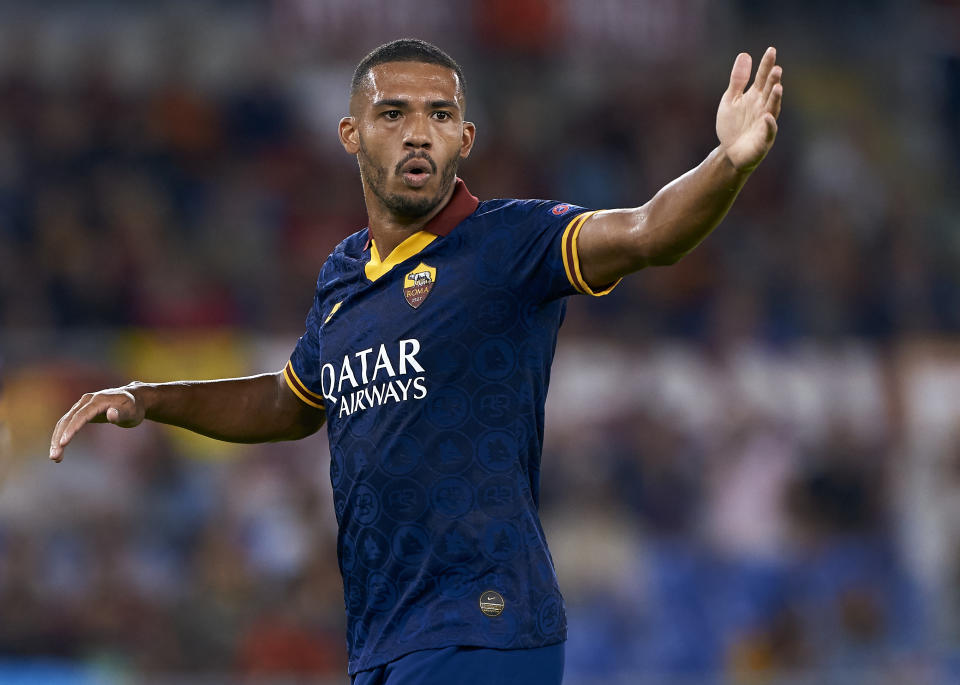 ROME, ITALY - SEPTEMBER 19: Juan Jesus of Roma reacts during the UEFA Europa League group J match between AS Roma and Istanbul Basaksehir F.K. at Stadio Olimpico on September 19, 2019 in Rome, Italy. (Photo by Quality Sport Images/Getty Images)