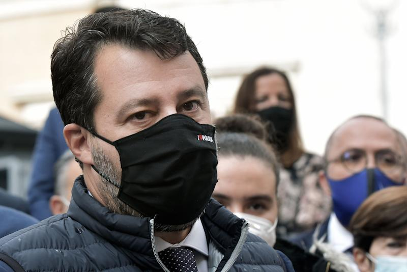 ROME, ITALY - OCTOBER 14: Matteo Salvini, wearing a mask with a logo that reads 'I Love the Police', joins the families of the fishermen from Mazara del Vallo who were arrested in Libya, as protesters sleep in Piazza Montecitorio for 25 days to ask for the release of the imprisoned men, on October 14, 2020 in Rome, Italy. Matteo Salvini and the MPs of the League Party gathered in Piazza Montecitorio in solidarity with the families of the Mazara del Vallo fishermen who were arrested by the Libyan coastguard after they were accused of fishing in territorial waters. (Photo by Simona Granati - Corbis/Getty Images) (Photo: Simona Granati - Corbis via Getty Images)