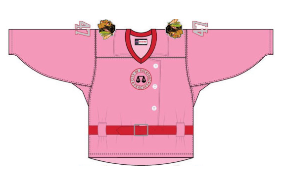 The Rockford IceHogs will honor the 75th anniversary of the Rockford Peaches with these special jerseys. (SportsLogos.net)