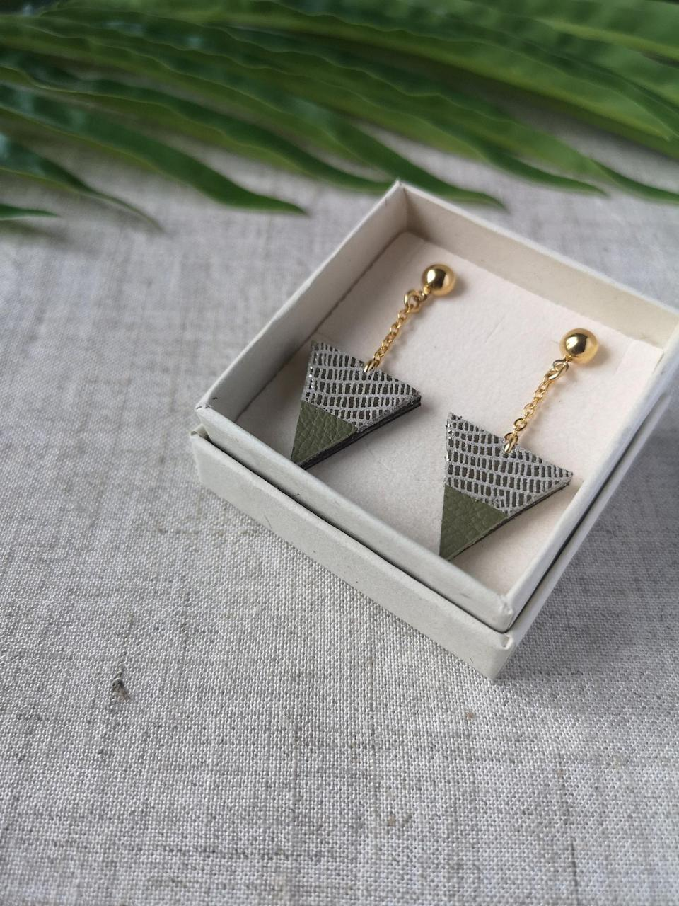 <p>How stunning are these <span>Green and Golden Leather Triangle Earrings with Gold Plating</span> ($28)?! They will dress up any fall outfit.</p>