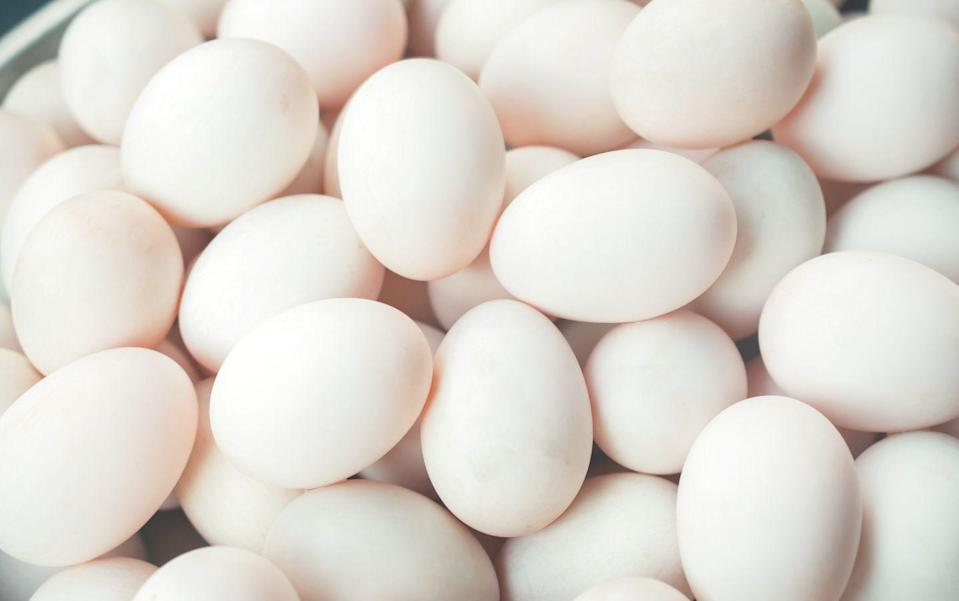 """<p>According to the <a href=""""https://ndb.nal.usda.gov/ndb/foods/show/01123?max=25&sort=default&order=asc&qlookup=eggs"""" rel=""""nofollow noopener"""" target=""""_blank"""" data-ylk=""""slk:USDA"""" class=""""link rapid-noclick-resp"""">USDA</a>, every egg has 6 grams of protein but just 72 calories. Eggs also have all nine essential amino acids and are rich in vitamins A, B12, B2 and B5, making them one of the most nutritious foods on the planet.</p><p><strong>Recipe to try: </strong><a href=""""https://www.womansday.com/food-recipes/food-drinks/a25837606/egg-pepper-rings-with-carrot-salsa-recipe/"""" rel=""""nofollow noopener"""" target=""""_blank"""" data-ylk=""""slk:Egg Pepper Rings with Carrot Salsa"""" class=""""link rapid-noclick-resp"""">Egg Pepper Rings with Carrot Salsa</a></p>"""