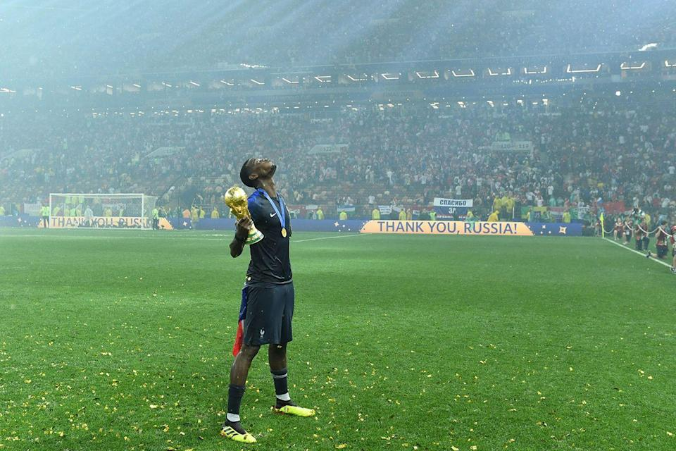 <p>France's Paul Pogba celebrates the team's World Cup victory after they defeated Croatia at Luzhniki Stadium in Moscow. This is the country's second win, the last being in 1998. </p>