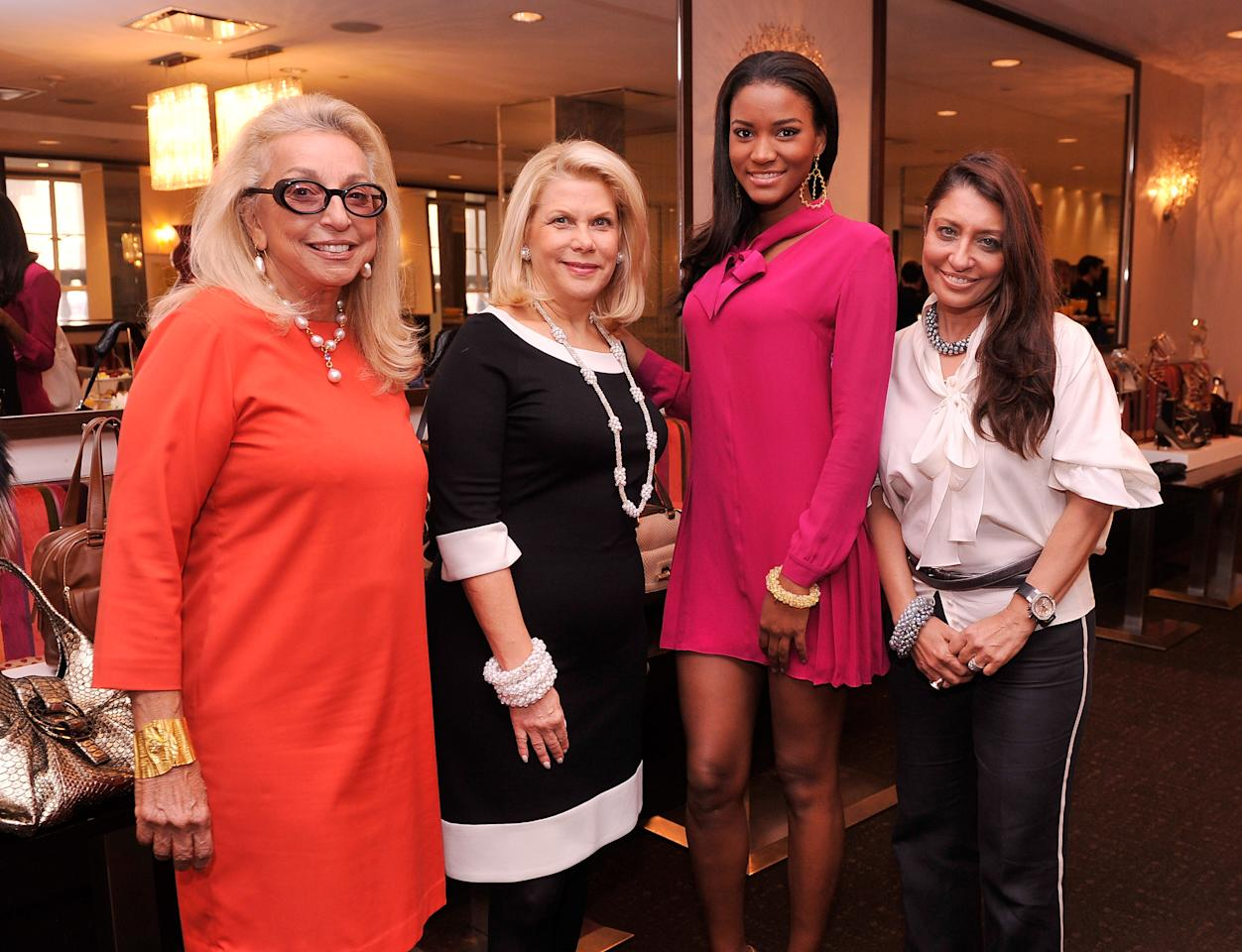 NEW YORK, NY - SEPTEMBER 21:  (L-R)  Socialite Eleanora Kennedy, producer/philanthropist Francine LeFrak, Miss Universe 2011 Leila Lopes, and Muna Rihani from UN Women For Peace attend the UN Women For Peace And Same Sky Ethical Shopping Event at Saks Fifth Avenue on September 21, 2012 in New York City.  (Photo by Stephen Lovekin/Getty Images)