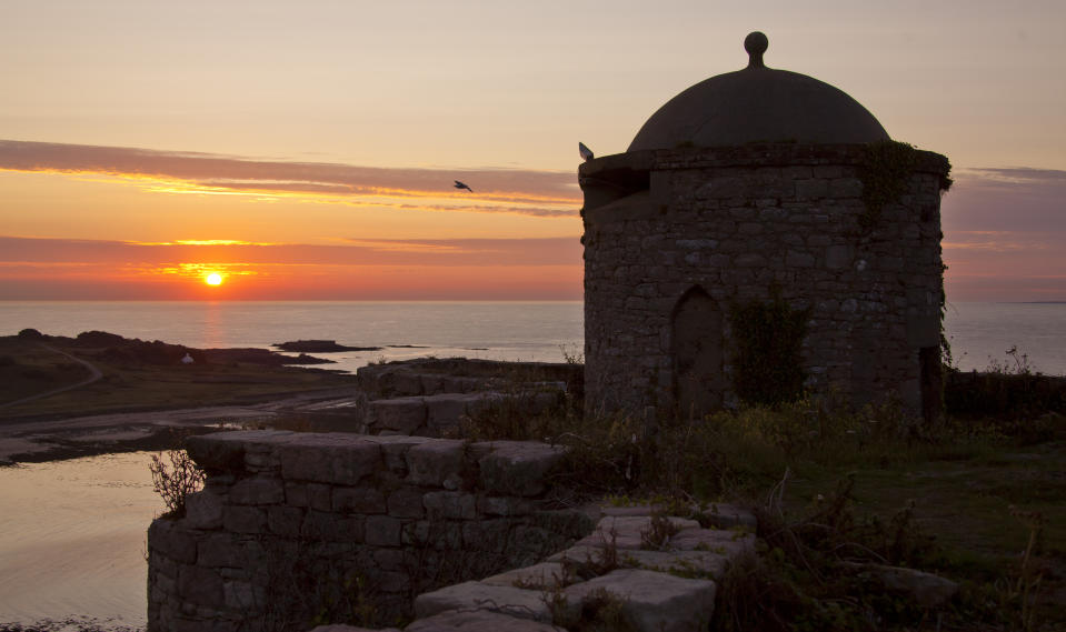 Sunset over Alderney's Essex Castle.