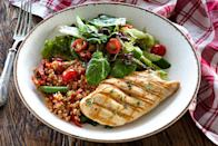 "<p>Skinless <a href=""https://www.prevention.com/food-nutrition/g20468396/slimming-chicken-breast-recipes/"" rel=""nofollow noopener"" target=""_blank"" data-ylk=""slk:chicken"" class=""link rapid-noclick-resp"">chicken</a> or <a href=""https://www.prevention.com/food-nutrition/healthy-eating/g20452160/leftover-turkey-recipes-and-meal-ideas/"" rel=""nofollow noopener"" target=""_blank"" data-ylk=""slk:turkey"" class=""link rapid-noclick-resp"">turkey</a> and <a href=""https://www.prevention.com/food-nutrition/recipes/a20522163/baked-pork-tenderloin-and-apple-salad/"" rel=""nofollow noopener"" target=""_blank"" data-ylk=""slk:pork tenderloin"" class=""link rapid-noclick-resp"">pork tenderloin</a> are the best picks. ""Protein helps promote the growth and repair of body tissues and is also super satiating,"" says <a href=""https://www.instagram.com/the_dietitian_kitchen/?hl=en"" rel=""nofollow noopener"" target=""_blank"" data-ylk=""slk:Kerri Major"" class=""link rapid-noclick-resp"">Kerri Major</a>, R.D., certified personal trainer and author of the forthcoming <em><a href=""https://www.amazon.com/Dietitian-Kitchen-Nutrition-Fitness-Healthy/dp/1782551840?tag=syn-yahoo-20&ascsubtag=%5Bartid%7C10050.g.35715141%5Bsrc%7Cyahoo-us"" rel=""nofollow noopener"" target=""_blank"" data-ylk=""slk:The Dietitian Kitchen"" class=""link rapid-noclick-resp"">The Dietitian Kitchen</a></em>. ""Including a lean source of protein with a meal can help to minimize feelings of hunger and decrease overall energy intake.""</p>"