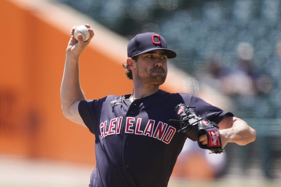 Cleveland Indians starting pitcher Shane Bieber throws during the first inning of a baseball game against the Detroit Tigers, Thursday, May 27, 2021, in Detroit. (AP Photo/Carlos Osorio)