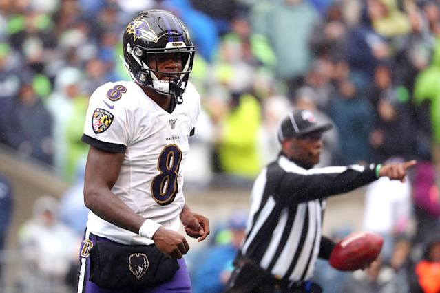 Lamar Jackson is on a record-setting pace this season. (Getty Images)