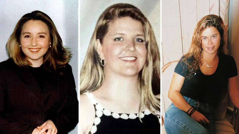 Pictured is Sarah Spiers (first victim, left), Jane Rimmer (second victim, middle) and Ciara Glennon (third victim, right), Bradley Robert Edwards, is accused of murdering all three of them. Source: AAP.