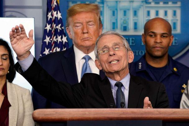 PHOTO: Dr. Anthony Fauci, director of the National Institute of Allergy and Infectious Diseases, speaks during a press briefing with the coronavirus task force, in the White House, March 16, 2020, in Washington. (Evan Vucci/AP)