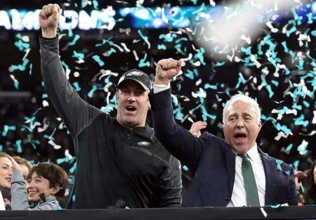 Feb 4, 2018; Minneapolis, MN, USA; Philadelphia Eagles head coach Doug Pederson celebrates with owner Jeffrey Lurie after defeating the New England Patriots 41-33 in Super Bowl LII at U.S. Bank Stadium. Mandatory Credit: Matthew Emmons-USA TODAY Sports