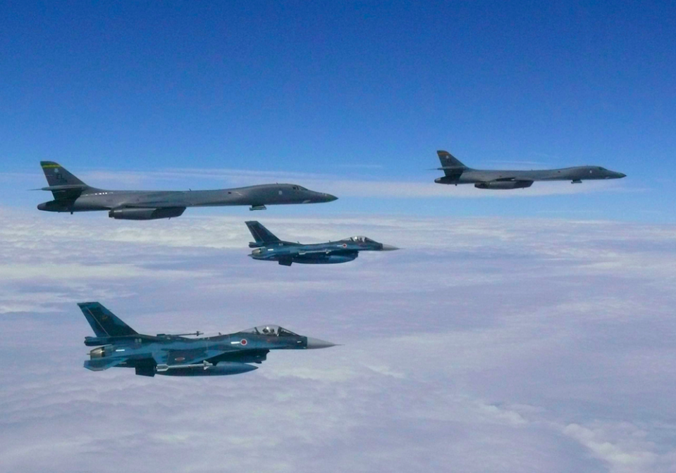 US fighter planes during a mission from Guam (Picture: PA)