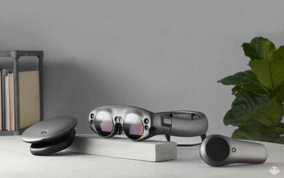 The Magic Leap One includes a headset, processing unit and motion controller.
