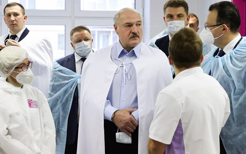 Belarusian President Alexander Lukashenko made remarks about a possible constitutional reform during a visit to a coronavirus hospital in Minsk - Maxim Guchek/BelTa