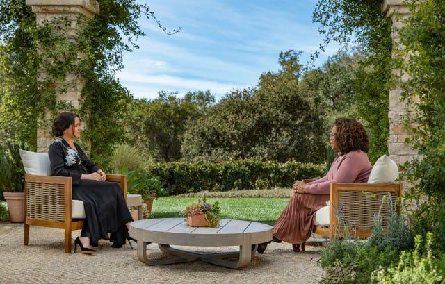 The Duchess of Sussex during her interview with Oprah Winfrey
