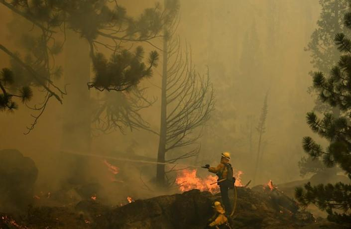 Lake Tahoe, CA. September 2, 2021: Firefighters try to control a back fire to help battle the Caldor fire along highway 89 west of Lake Tahoe Thursday. (Wally Skalij/Los Angeles Times)