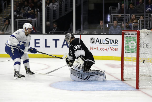 Tampa Bay Lightning's Mathieu Joseph (7) scores past Los Angeles Kings goaltender Jonathan Quick (32) during the third period of an NHL hockey game Thursday, Jan. 3, 2019, in Los Angeles. (AP Photo/Marcio Jose Sanchez)