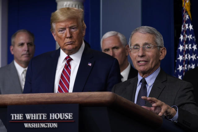 President Trump and Dr. Anthony Fauci, director of the National Institute of Allergy and Infectious Diseases. (AP/Evan Vucci)