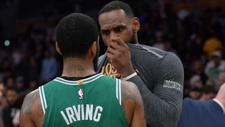 fefe08236 LeBron James, Kyrie Irving have top-secret chat after Celtics-Lakers