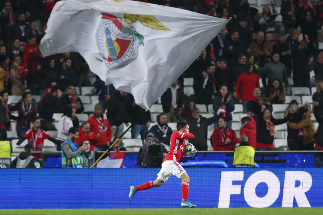 Benfica's Franco Cervi celebrates after scoring the opening goal during the Champions League group G soccer match between Benfica and Zenit St. Petersburg at the Luz stadium in Lisbon, Tuesday, Dec. 10, 2019. (AP Photo/Armando Franca)