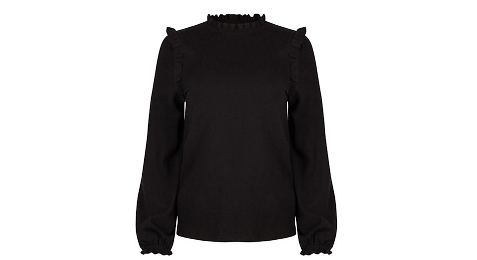 Frill Detail Black Knitted Jumper