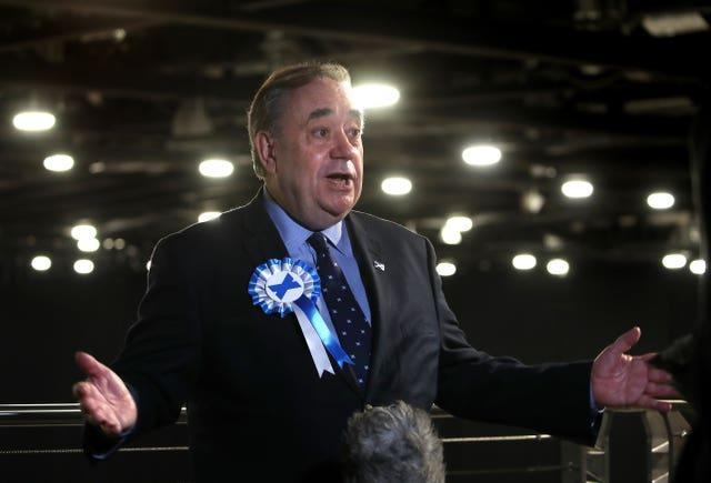 Alba Party leader Alex Salmond talks to the media as votes are being counted for the Scottish Parliamentary elections in Aberdeen