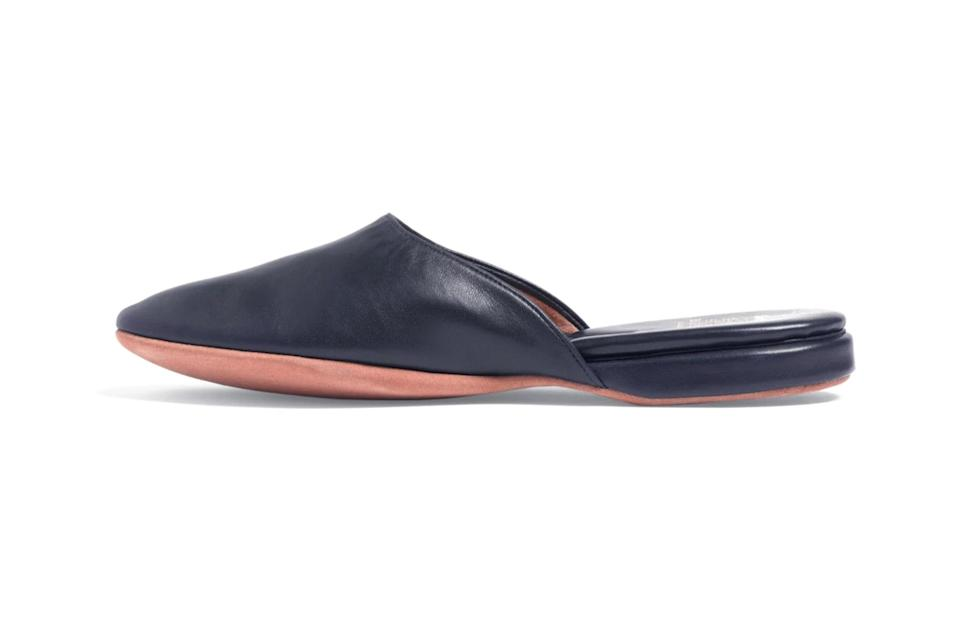 "$178, Brooks Brothers. <a href=""https://www.brooksbrothers.com/Nappa-Backless-Slippers/602H,default,pd.html?dwvar_602H_Color=BL&contentpos=18&cgid=0522"" rel=""nofollow noopener"" target=""_blank"" data-ylk=""slk:Get it now!"" class=""link rapid-noclick-resp"">Get it now!</a>"