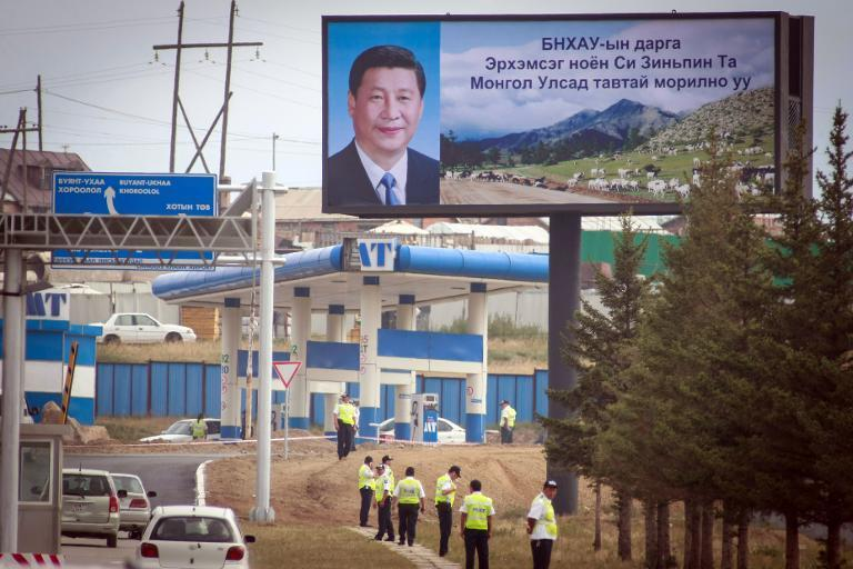 A poster of Chinese President Xi Jinping is seen on a billboard in Ulan Bator, Mogolia on August 21, 2014
