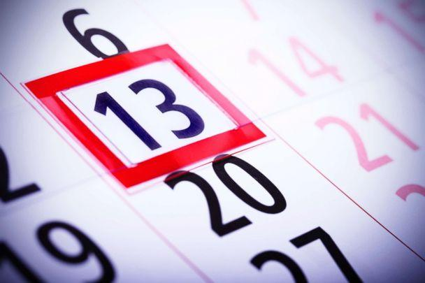 PHOTO: Friday the 13th, circled on a calendar, is often associated with bad luck. (Getty Images)