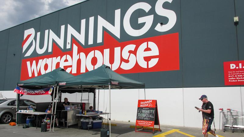 Moorabbin, Australia - November 1, 2019: Bunnings charity barbie (Australian slang for BBQ) outside of its stores have been associated with the brand. The charity event occurs on the weekends