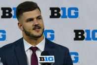 Ohio State tight end Jeremy Ruckert talks to reporters during an NCAA college football news conference at the Big Ten Conference media days, at Lucas Oil Stadium in Indianapolis, Friday, July 23, 2021. (AP Photo/Michael Conroy)