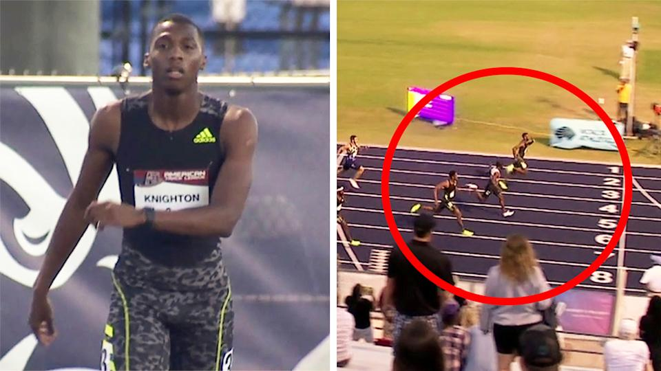 Erriyon Knighton (pictured left) before the race and (pictured right) running first with 20.11 seconds over 200m.