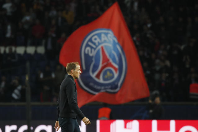 PSG's head coach Thomas Tuchel walks on the field at the end of the Champions League group A soccer match between PSG and Real Madrid at the Parc des Princes stadium in Paris, Wednesday, Sept. 18, 2019. (AP Photo/Francois Mori)