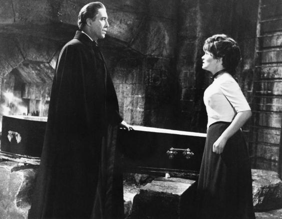 Christopher Lee and Barbara Ewing in 'Dracula Has Risen from the Grave', 1968 (Getty)