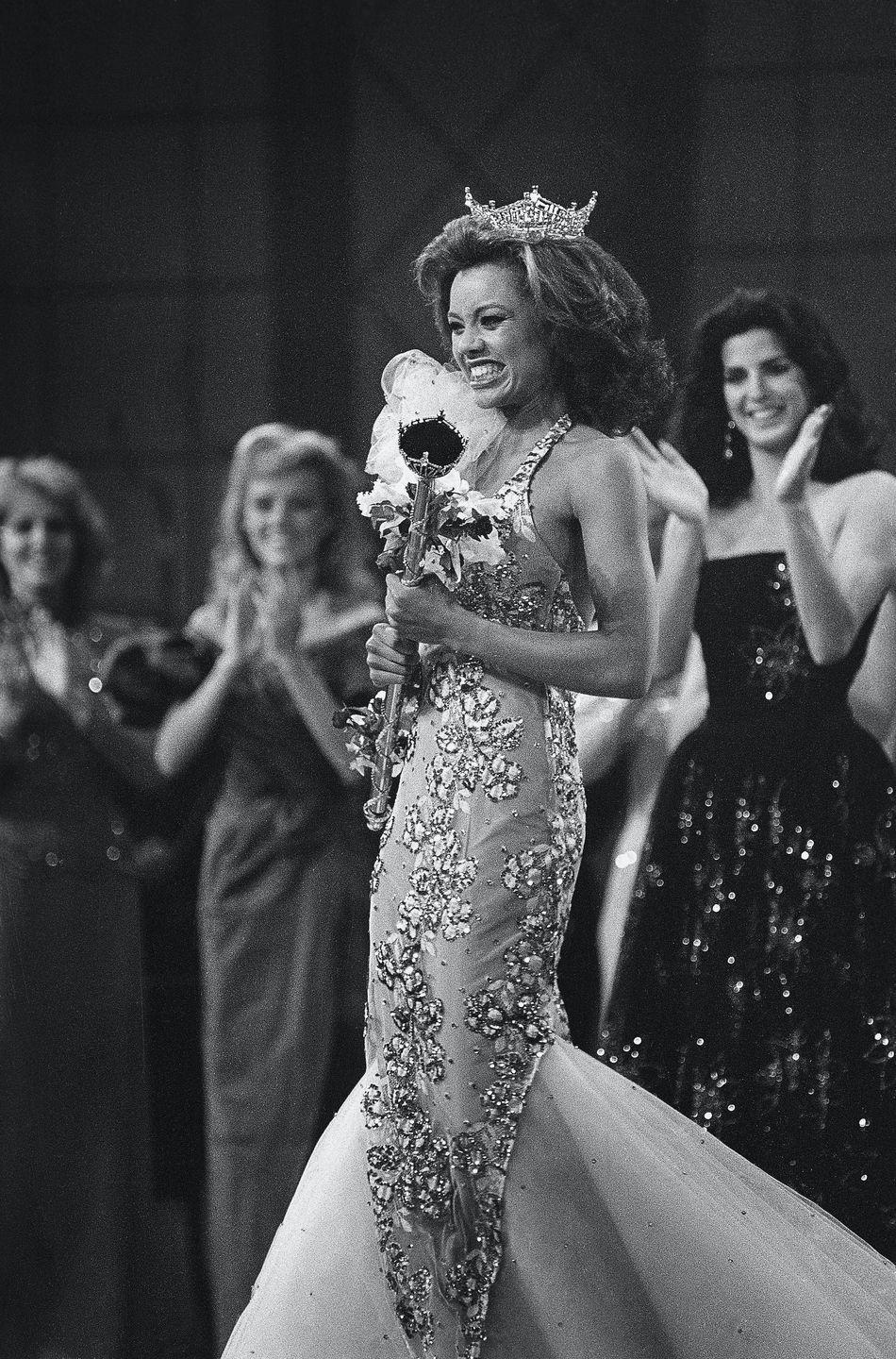 <p>A young Vanessa Williams not only looked flawless in this mermaid-style evening gown when she represented New York in 1984, but she also made history as the first African American woman to win the title. </p>