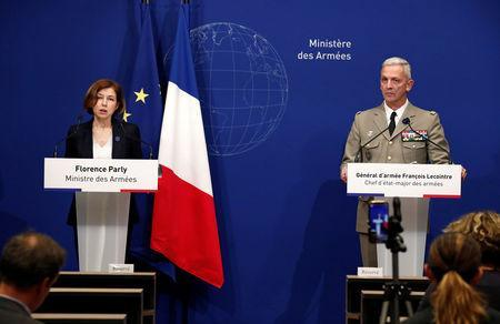 French Defence Minister Florence Parly and Chief of the Defense Staff of the French Army General Francois Lecointre hold a news conference after two French soldiers were killed in a rescue operation of four hostages in Burkina Faso, at the headquarters of the French Armed Forces in Paris, France, May 10, 2019. REUTERS/Benoit Tessier