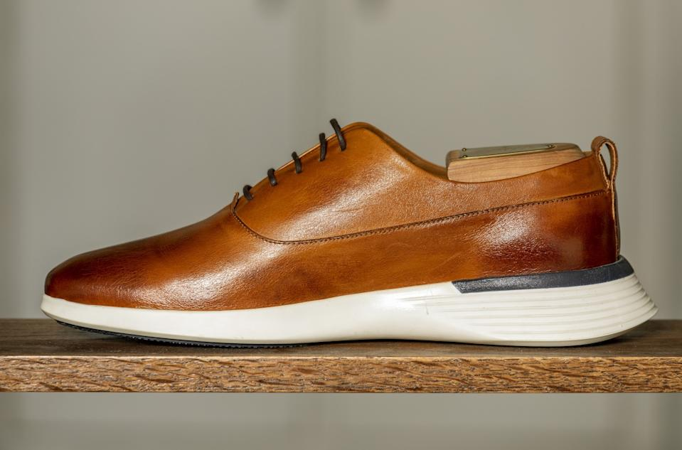 "Wolf & Shepherd's Crossover Longwing in a color called honey. The brand introduced the shoe last year, and it has been a bestseller during the coronavirus pandemic. <span class=""copyright"">(Ricardo DeAratanha / Los Angeles Times)</span>"
