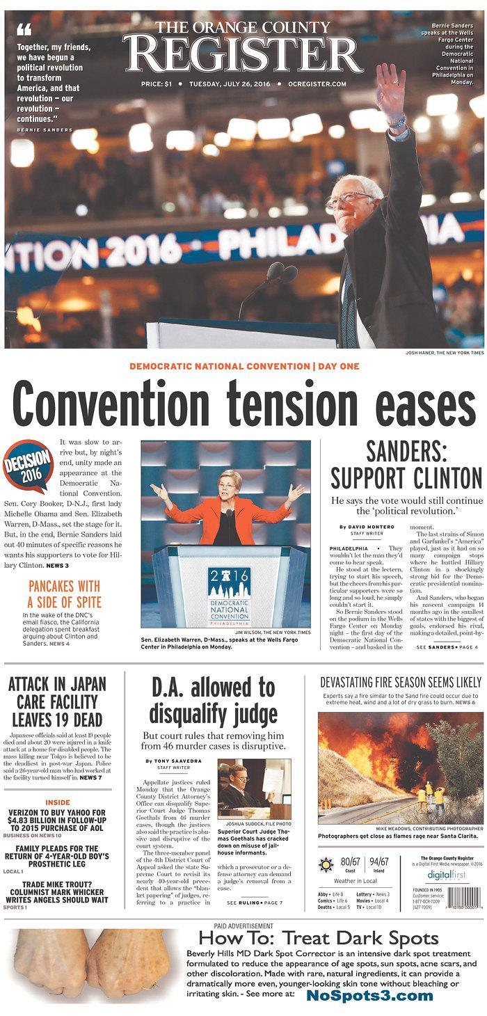 Convention tension eases - Orange County Register