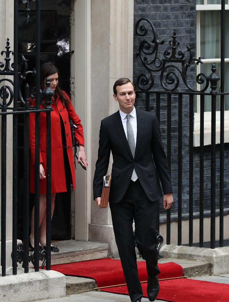 Jared Kushner leaves 10 Downing Street, London, in a skinny suit in June 2019. (Photo by Yui Mok/PA Images via Getty Images)