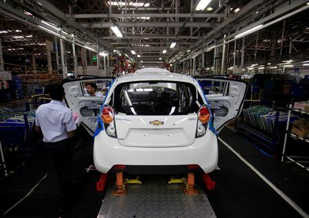 Chevrolet Beat car on an assembly line at the General Motors plant in Talegaon