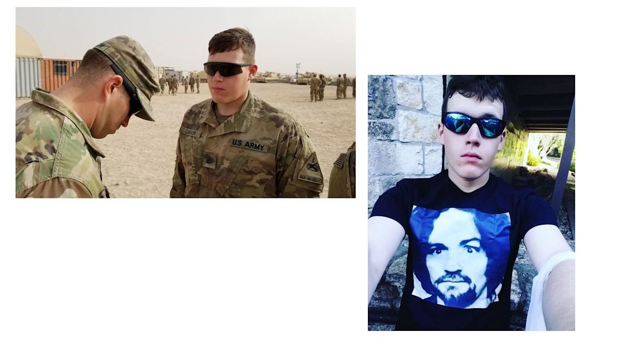 At left, a photo of Corwyn Storm Carver posted to the Facebook account of the 1st Armored Division. On the right, a selfie posted to an Instagram account connected to Carver, in which he wears a Charles Manson T-shirt. The neo-Nazi group Atomwaffen Division idolizes Charles Manson. (Instagram photo provided to HuffPost by Nate Thayer) (Photo: Facebook / Courtesy of Nate Thayer)