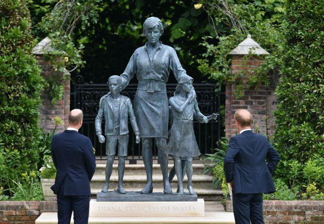 Prince William and Prince Harry after they unveiled a statue they commissioned of their mother Diana, Princess of Wales, in the Sunken Garden at Kensington Palace, on what would have been her 60th birthday on July 1. (Photo: WPA Pool via Getty Images)