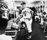 Los Angeles Dodgers manager Tom Lasorda starts a team meeting in the home locker room at Dodger Stadium, Monday, Oct. 3, 1983 in Los Angeles in preparation for the start Tuesday of the National League Championship series against the Philadelphia Phillies. (AP Photo)