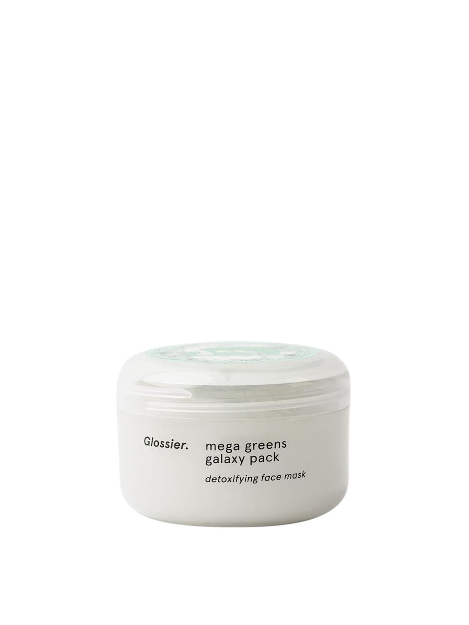 """<h3>Mega Greens Galaxy Pack<br></h3> <br>This traditional kaolin-clay face mask is boosted with nourishing ingredients like rosemary, pomegranate, spinach, and parsley — kind of like brunch at Urth Caffé, only for your face. It leaves our skin feeling soft and clear, but still well-hydrated, which is more than can be said for most pore-purifying clay masks.<br><br><strong>Glossier</strong> Mega Greens Galaxy Pack, $, available at <a href=""""https://go.skimresources.com/?id=30283X879131&url=https%3A%2F%2Fglossier.sjv.io%2F5DB33"""" rel=""""nofollow noopener"""" target=""""_blank"""" data-ylk=""""slk:Glossier"""" class=""""link rapid-noclick-resp"""">Glossier</a><br>"""