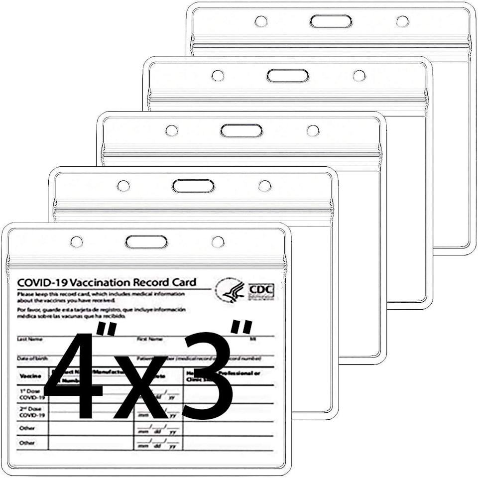 """<h2>Happy-House 5 Pack-CDC Vaccine Card Protector</h2><br><strong>Best Used For</strong>: Keeping your vaccine card safe<br><br><strong>The Hype</strong>: 4.8 out of 5 stars and 2,046 ratings<br><br><strong>Practical Peeps say:</strong> """"I wasn't sure but figured I should try it since I have to walk with my card. The plastic is very sturdy and the seals shut which helped when I had to pull out my cars in the rain to verify my status. It also fits into my passport holder to make it easier for traveling.""""<br><br><em>Shop <strong><a href=""""https://amzn.to/3lwthU6"""" rel=""""nofollow noopener"""" target=""""_blank"""" data-ylk=""""slk:Amazon"""" class=""""link rapid-noclick-resp"""">Amazon</a></strong></em><br><br><strong>Happy-house</strong> 5 Pack-CDC Vaccine Card Protector 4 X 3 Inches Immunization Record Vaccination Cards Holder Clear Vinyl Plastic Sleeve 3 X 4 with Waterproof Type Resealable Zip (Card Holder Only), $, available at <a href=""""https://www.amazon.com/gp/product/B092DB3W6Q/ref=ppx_yo_dt_b_asin_title_o00_s00?ie=UTF8&psc=1"""" rel=""""nofollow noopener"""" target=""""_blank"""" data-ylk=""""slk:Amazon"""" class=""""link rapid-noclick-resp"""">Amazon</a>"""